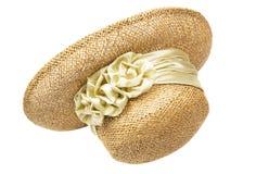Le chapeau de paille des femmes avec une fleur, d'isolement Image stock