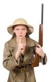 Le chapeau de port de safari de femme sur le blanc Photo libre de droits