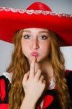 Le chapeau de port de sombrero de femme mexicaine Photos stock