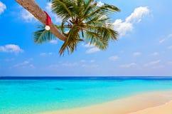 Le chapeau de Santa est sur une plage Photographie stock libre de droits