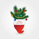 Le chapeau de Santa rouge avec le pin et les boules de Noël illustration de vecteur