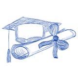 Le chapeau et le diplôme licenciés contournent le stylo bille de style Photos stock