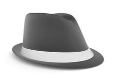 Le chapeau feutré des hommes classiques dans le gris, au-dessus d'un fond blanc Photo libre de droits