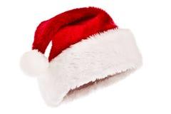 le chapeau a isolé le blanc de Santa photographie stock libre de droits