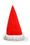 Le chapeau rouge de Santa avec la tresse argentée Photos stock