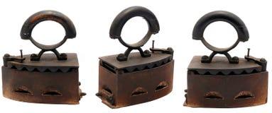 Le charbon de bois antique vêtx le fer Photos libres de droits