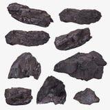 Le charbon met en bloc la collection renversée sur le blanc Photographie stock libre de droits