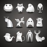 Le charcter mauvais drôle de Halloween de bande dessinée de fantômes et de monstres dirigent des icônes illustration stock