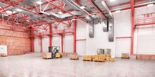 Le chariot élévateur entre les rangées dans le grand entrepôt illustration 3D illustration stock