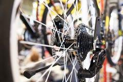 Le chariot avec la roue arrière à chaînes folâtre le vélo de montagne Image libre de droits