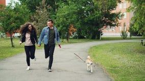 Le chariot de mouvement lent a tiré des propriétaires sportifs gais de chien de personnes courant en parc avec leur animal famili banque de vidéos