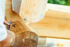 Le charpentier dessine sur un arbre photographie stock