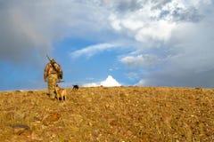 Le chasseur et les chiens de cheminement dans le lever de soleil aride aménagent en parc image stock