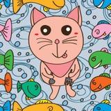 Le chat aiment le modèle sans couture de poissons délicieux de maman Photo stock