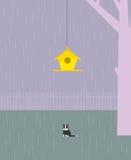 Le chat attend l'oiseau Photographie stock libre de droits