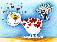 Le chat blanc d'amour de coeur donne un bouquet des fleurs Photographie stock libre de droits