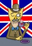Le chat britannique de messieurs apprécie son café photographie stock libre de droits