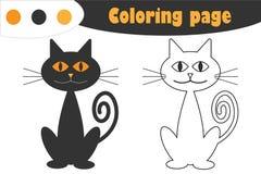 Le chat dans le style de bande dessinée, la page de coloration de Halloween, jeu de papier d'éducation pour le développement des  illustration libre de droits