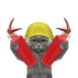 Le chat de sapeur-pompier est prêt à travailler illustration stock