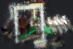 Le chat dort sous la vieille table Encre acrylique Photo libre de droits