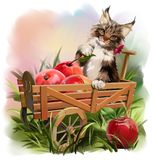 Le chat et la récolte d'Apple illustration libre de droits