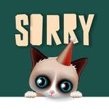 Le chat grincheux mignon font des excuses carte désolée illustration libre de droits