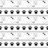 Le chat mignon de bande dessinée de vecteur avec des pattes de chat répètent le modèle et le fond sans couture illustration stock