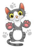 Le chat a mis des pattes sur l'écran Images libres de droits