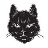 Le chat noir mignon avec la lune sur son schéma et point front travaillent Esprit familier de Wiccan, Halloween ou thème païen de Images stock