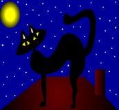 Le chat noir sur le toit veille de la toussaint Images stock