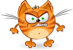 Le chat orange fâché de dessin animé Images stock