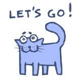 Le chat pourpre drôle indique laisse aller ! Illustration de vecteur illustration stock