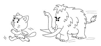 Le chat préhistorique fonctionne de gigantesque illustration de 2 d illustration de vecteur
