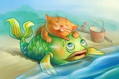 Le chat rouge aime des poissons Photos libres de droits