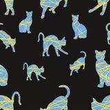 Le chat silhouette le modèle sans couture Photographie stock libre de droits
