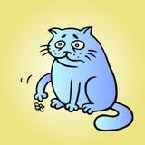 Le chat veut jouer et la mouche est fatiguée et est morte Illustration de vecteur illustration stock