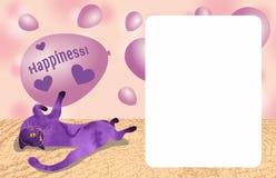 Le chat violet se situe et tient dans des ses pattes un ballon avec l'espace de copie Calibre pour des cartes Placez des illustra illustration stock