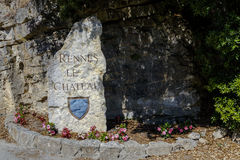 雷恩le Chateau Village标志,法国 库存图片