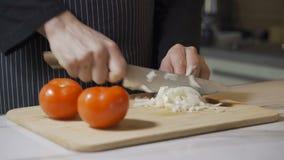 Le chef coupe en tranches l'oignon Coupe rapide des légumes Demi anneaux des oignons clips vidéos