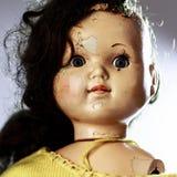 Le chef de la belle poupée effrayante aiment du film d'horreur Images libres de droits