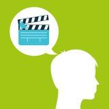 Le chef de silhouette de film de clapet pensent le film Images libres de droits