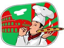 Le chef des cuisiniers avec une pizza Photographie stock libre de droits