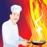 Le chef fait cuire la nourriture dans une poêle illustration stock
