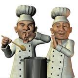 Le chef a goûté le potage salé Photo libre de droits