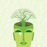 Le chef humain avec l'arbre, pensent le concept vert Photos stock