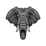 Le chef, les défenses et le tronc d'éléphant dirigent l'icône de mascotte illustration stock