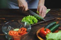 Le chef prépare une salade des légumes image stock