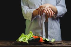 Le chef prépare une salade végétale végétarienne images stock