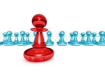 Le Chef rouge Winner Pawn Forward l'autre équipe de groupe illustration de vecteur