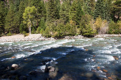 Le chemin de fer de mesure étroite de Durango à Silverton qui fonctionne par Rocky Mountains par les Animas de rivière dans le Co Image libre de droits